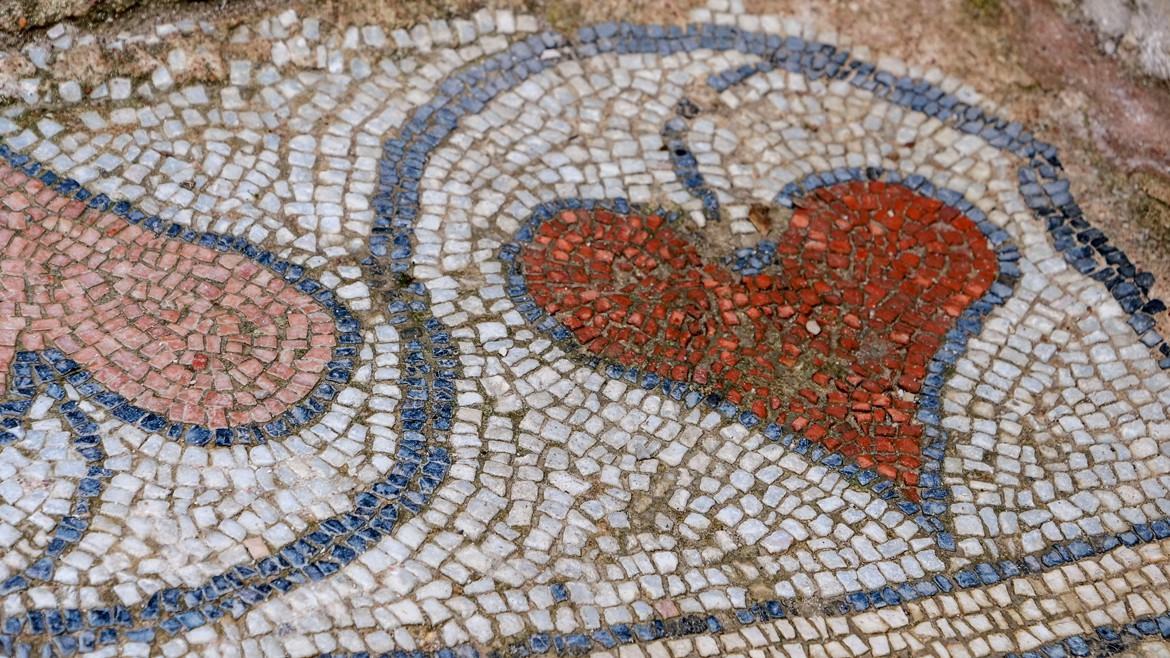 Detail of the mosaic floor from the Baptistery in Butrint